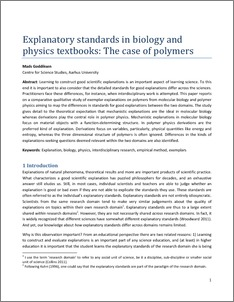 Explanatory standards in biology and physics textbooks: The