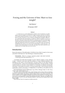 Forcing and the Universe of Sets: Must we lose insight?  - Philsci-Archive