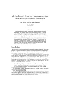 Maximality and Ontology: How axiom content varies across philosophical frameworks  - Philsci-Archive