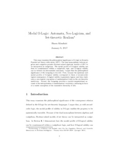 Modal Ω-Logic: Automata, Neo-Logicism, and Set-Theoretic Realism  - Philsci-Archive