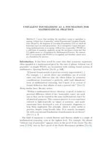 Univalent Foundations as a Foundation for Mathematical Practice  - Philsci-Archive