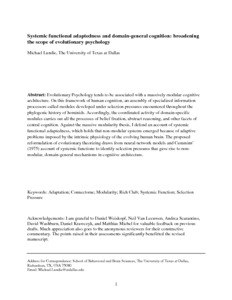 Systemic functional adaptedness and domain-general cognition: broadening the scope of evolutionary psychology - Philsci-Archive