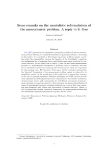 Some remarks on the mentalistic reformulation of the measurement problem. A reply to S. Gao - Philsci-Archive