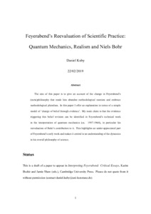 Feyerabend's Reevaluation of Scientific Practice: Quantum Mechanics, Realism and Niels Bohr - Philsci-Archive