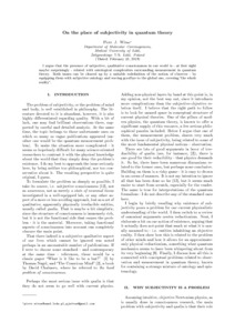 On the place of subjectivity in quantum theory - Philsci-Archive