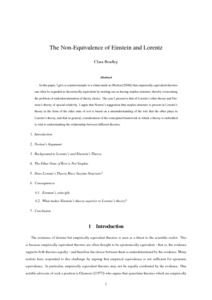 The Non-Equivalence of Einstein and Lorentz - Philsci-Archive