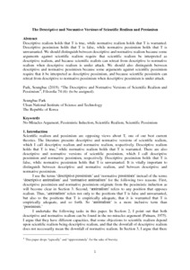 The Descriptive and Normative Versions of Scientific Realism and Pessimism - Philsci-Archive