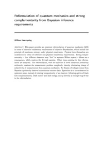 Reformulation of quantum mechanics and strong complementarity from Bayesian inference requirements - Philsci-Archive