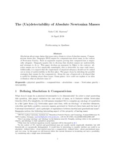 The (Un)detectability of Absolute Newtonian Masses - Philsci-Archive