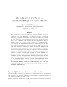 The influence of gravity on the Boltzmann entropy of a closed universe  - Philsci-Archive