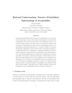 Rational Understanding: Toward a Probabilistic Epistemology of Acceptability  - Philsci-Archive