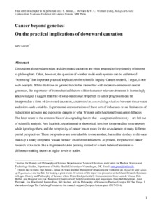 Cancer beyond genetics: On the practical implications of downward causation  - Philsci-Archive