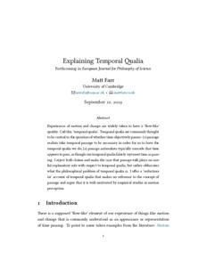 Explaining Temporal Qualia  - Philsci-Archive