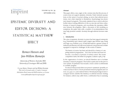 Epistemic Diversity and Editor Decisions: A Statistical Matthew Effect  - Philsci-Archive