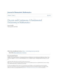 Discrete and continuous: A fundamental dichotomy in mathematics  - Philsci-Archive