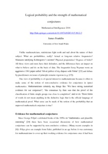 Logical probability and the strength of mathematical conjectures  - Philsci-Archive