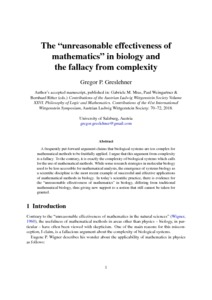 """The """"unreasonable effectiveness of mathematics"""" in biology and the fallacy from complexity  - Philsci-Archive"""