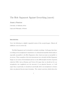 The Hole Argument Against Everything (uncut)  - Philsci-Archive