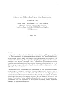 Science and Philosophy: A Love-Hate Relationship  - Philsci-Archive