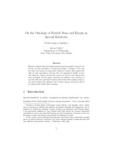 On the Ontology of Particle Mass and Energy in Special Relativity  - PhilSci-Archive