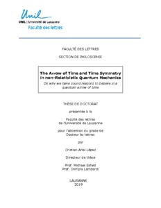 PhD Thesis:The Arrow of Time and Time Symmetry in non-Relativistic Quantum Mechanics  - PhilSci-Archive