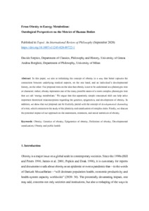From Obesity to Energy Metabolism: Ontological Perspectives on the Metrics of Human Bodies  - PhilSci-Archive