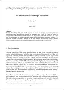 multiple realizability Reduction and multiple realizability robert w batterman department of philosophy university of pittsburgh december 10, 2014 abstract this paper addresses the recent resurgence of nagel style reduction in the philosophical literature in particular, it considers the so-called.